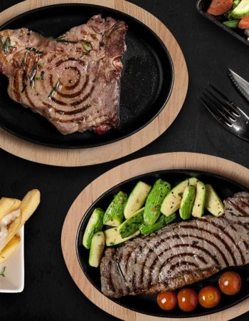 مطعم وان اوك فى الشيح زايد one oak restaurant sheikh zayed T-Bone and Striploin steak cut